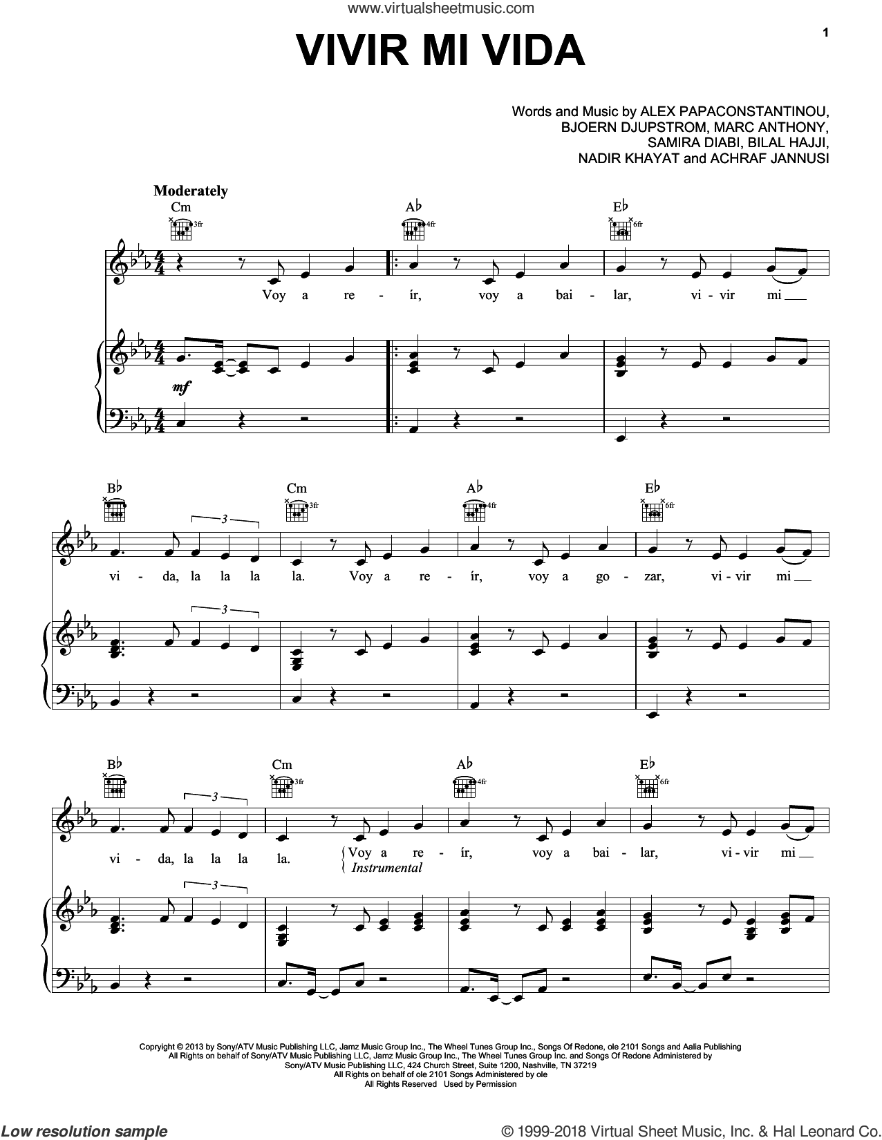 Vivir Mi Vida sheet music for voice, piano or guitar by Marc Anthony, Achraf Jannusi, Alex Papaconstantinou, Bilal Hajji, Bjoern Djupstrom and Samira Diabi, intermediate skill level