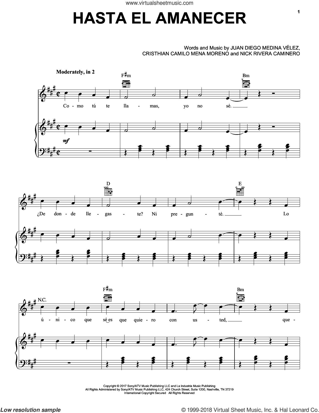 Hasta El Amanecer sheet music for voice, piano or guitar by Nicky Jam, Cristhian Camilo Mena Moreno, Juan Diego Medina Velez and Nick Rivera Caminero, intermediate skill level