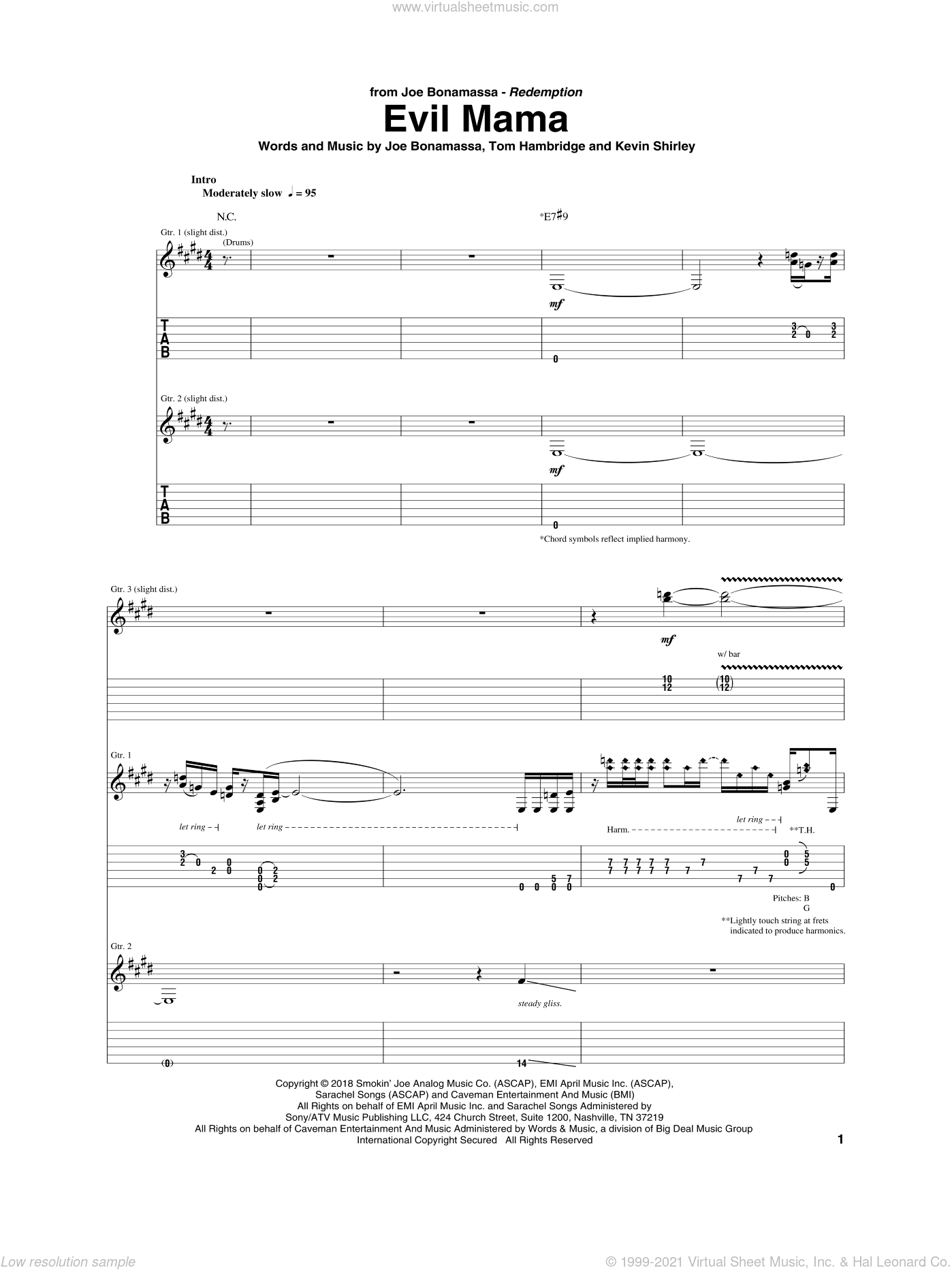 Evil Mama sheet music for guitar (tablature) by Joe Bonamassa, Kevin Shirley and Tom Hambridge, intermediate skill level