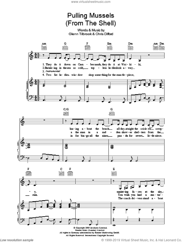 Pulling Mussels sheet music for voice, piano or guitar by Squeeze, Chris Difford and Glenn Tilbrook, intermediate. Score Image Preview.