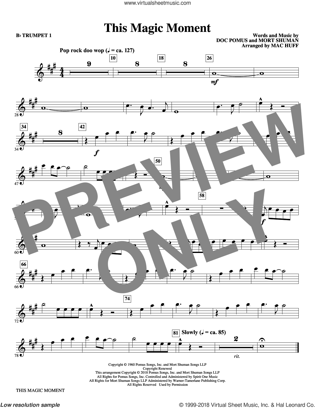 This Magic Moment  (Arr. Mac Huff) sheet music for orchestra/band (Bb trumpet 1) by Ben E. King & The Drifters, Mac Huff, Jay & The Americans, Doc Pomus and Mort Shuman, wedding score, intermediate skill level