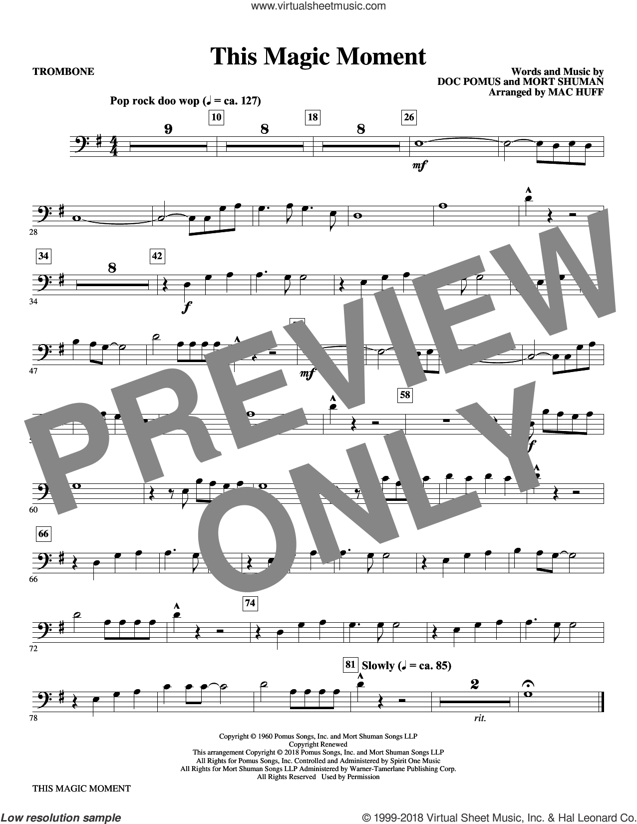 This Magic Moment  (Arr. Mac Huff) sheet music for orchestra/band (trombone) by Ben E. King & The Drifters, Mac Huff, Jay & The Americans, Doc Pomus and Mort Shuman, wedding score, intermediate skill level