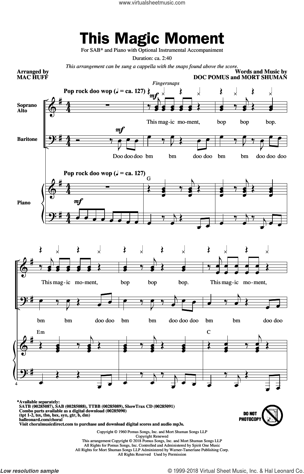 This Magic Moment (Arr. Mac Huff) sheet music for choir (SAB: soprano, alto, bass) by Ben E. King & The Drifters, Mac Huff, Jay & The Americans, Doc Pomus and Mort Shuman, wedding score, intermediate skill level