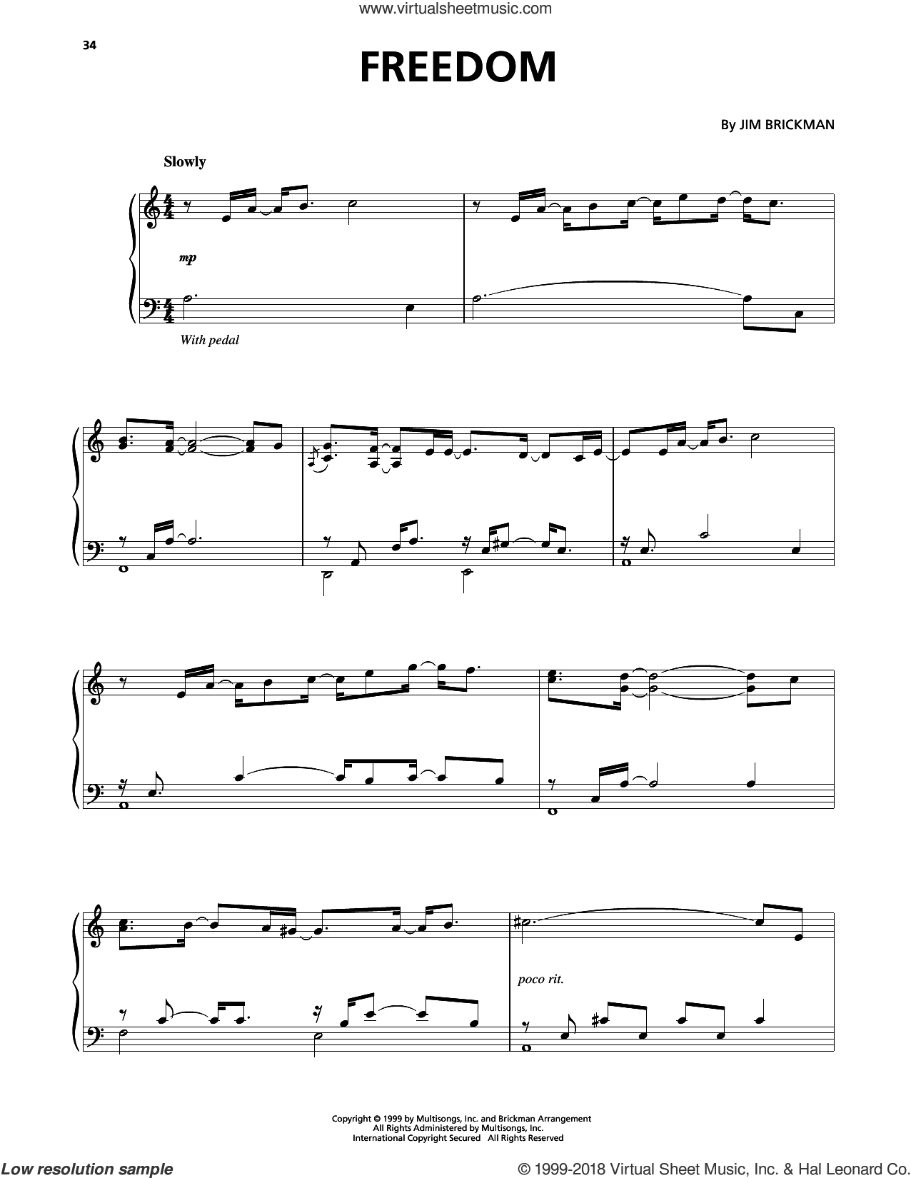 Freedom sheet music for piano solo by Jim Brickman, intermediate skill level