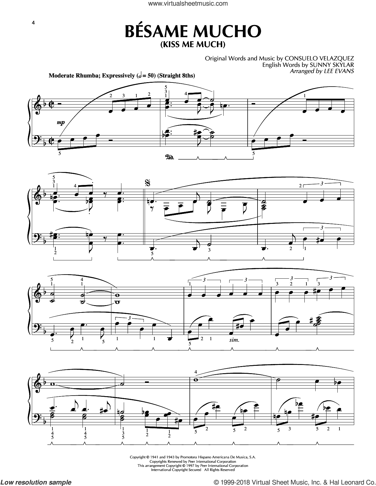 Besame Mucho (Kiss Me Much) sheet music for piano solo by Consuelo Velazquez, Lee Evans, The Beatles and The Coasters, intermediate skill level