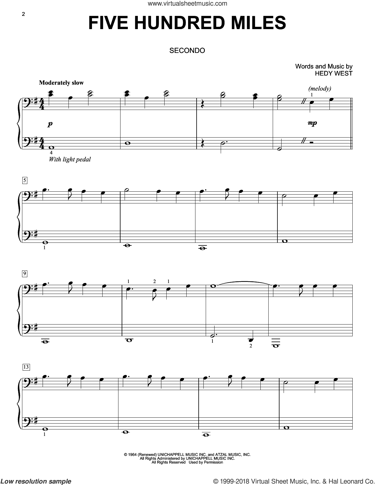 Five Hundred Miles sheet music for piano four hands by Peter, Paul & Mary and Hedy West, intermediate skill level