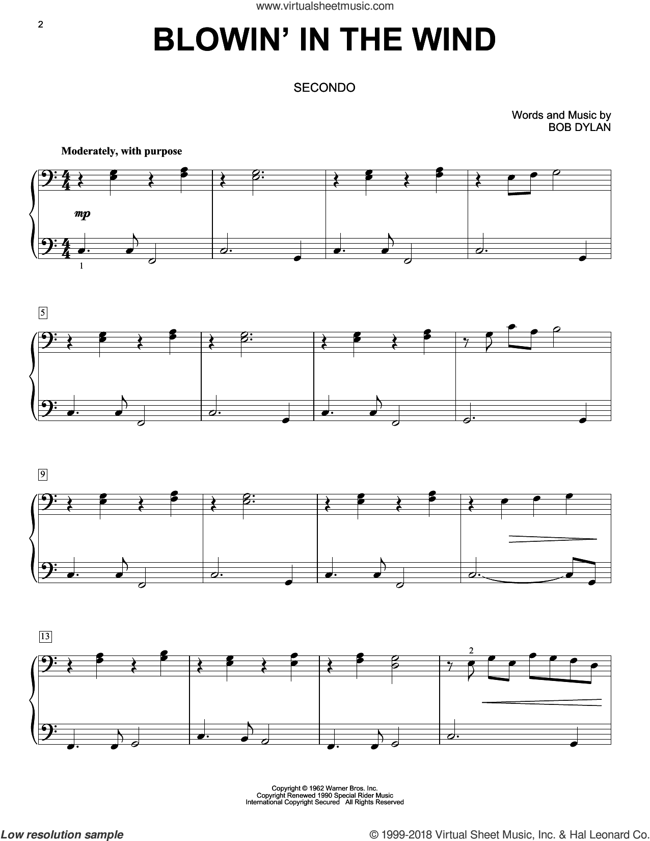 Blowin' In The Wind sheet music for piano four hands by Bob Dylan, Peter, Paul & Mary and Stevie Wonder, intermediate skill level
