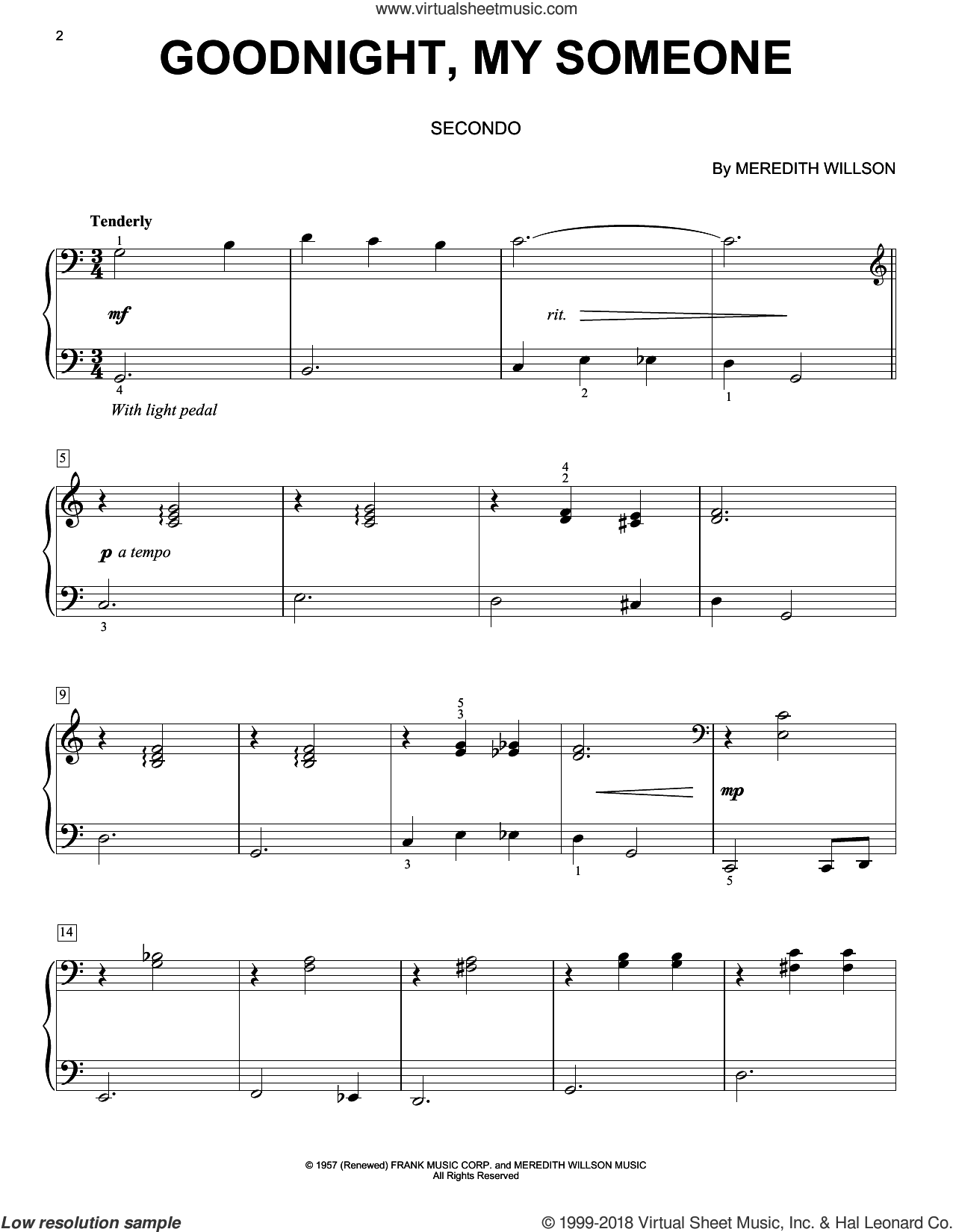 Goodnight, My Someone sheet music for piano four hands by Meredith Willson, intermediate skill level