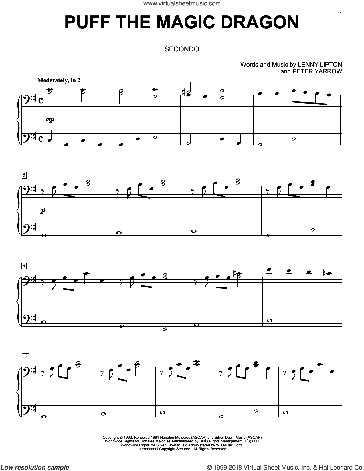 Puff The Magic Dragon sheet music for piano four hands by Peter, Paul & Mary, Lenny Lipton and Peter Yarrow, intermediate skill level