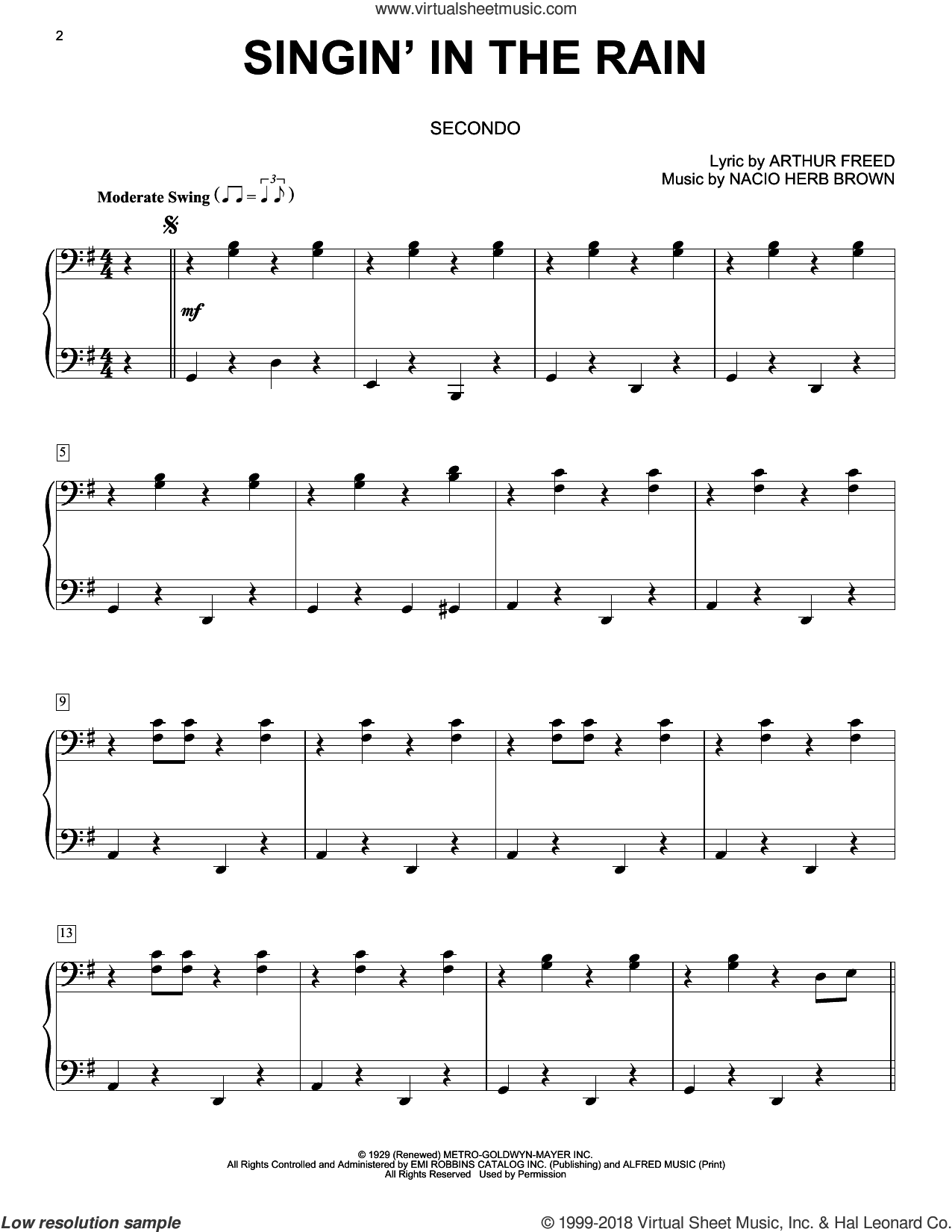 Singin' In The Rain sheet music for piano four hands by Nacio Herb Brown and Arthur Freed, intermediate skill level