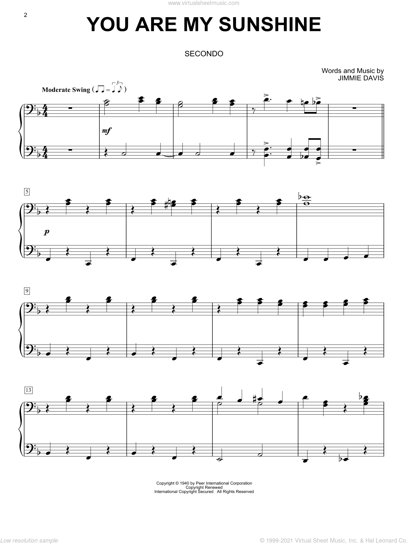 You Are My Sunshine sheet music for piano four hands by Jimmie Davis, intermediate skill level