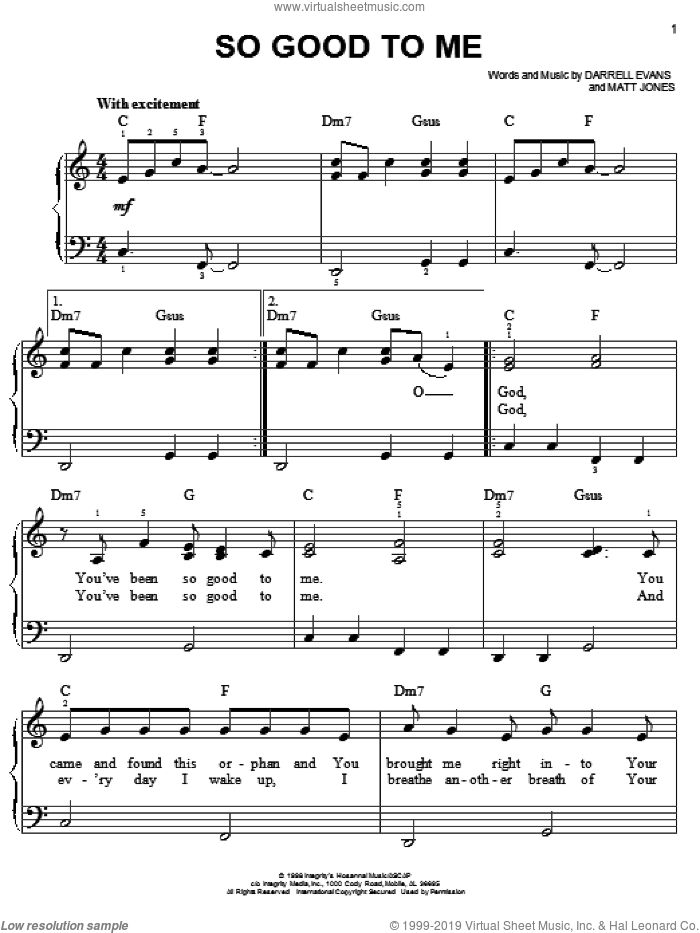 So Good To Me sheet music for piano solo by Darrell Evans and Matt Jones, easy skill level