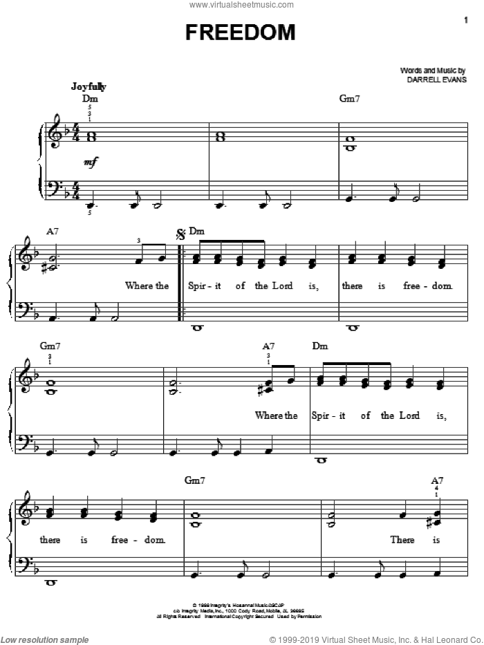 Freedom sheet music for piano solo by Darrell Evans, easy skill level