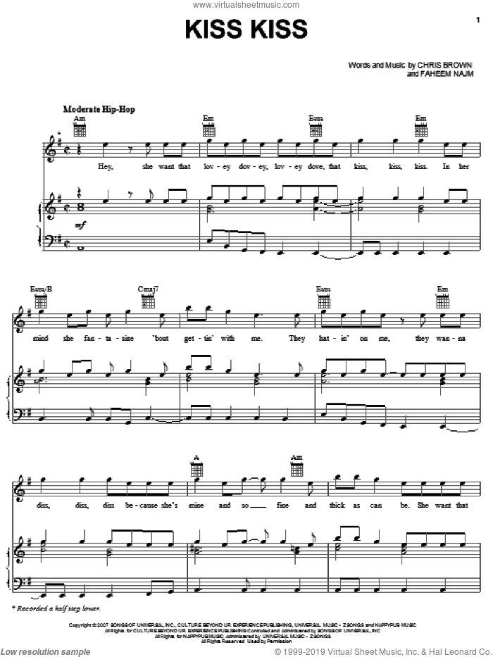 Kiss Kiss sheet music for voice, piano or guitar by Chris Brown featuring T-Pain, T-Pain, Chris Brown and Faheem Najm, intermediate skill level