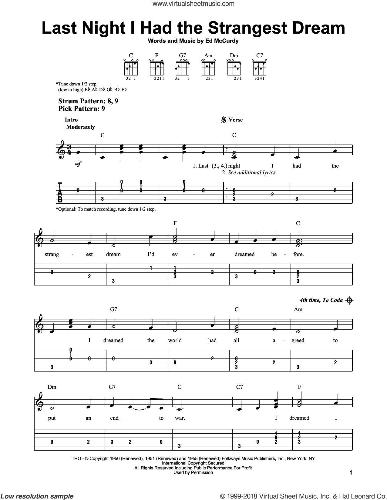 Last Night I Had The Strangest Dream sheet music for guitar solo (easy tablature) by Simon & Garfunkel and Ed McCurdy, easy guitar (easy tablature)