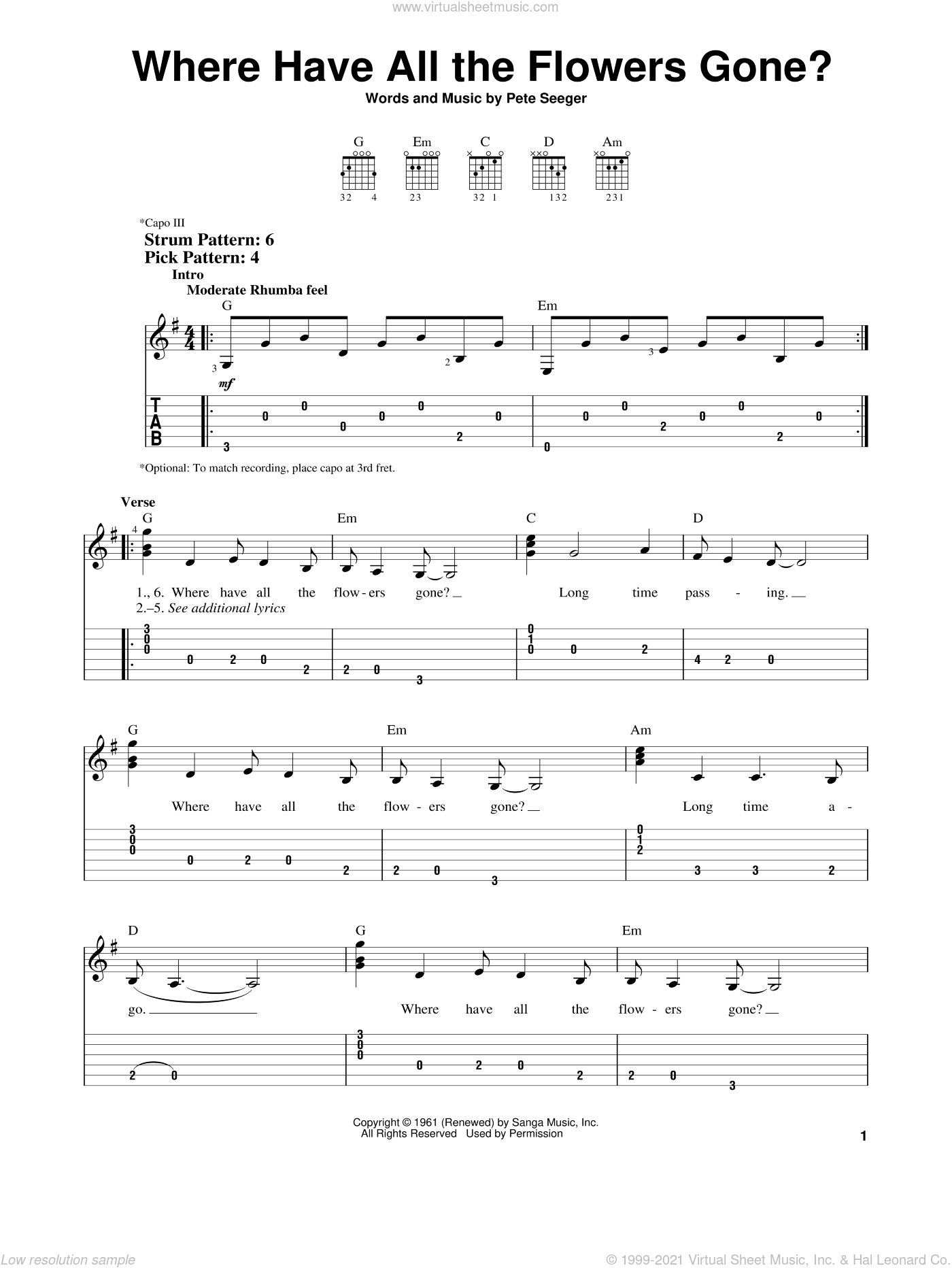 Where Have All The Flowers Gone? sheet music for guitar solo (easy tablature) by The Kingston Trio, Peter, Paul & Mary and Pete Seeger, easy guitar (easy tablature)
