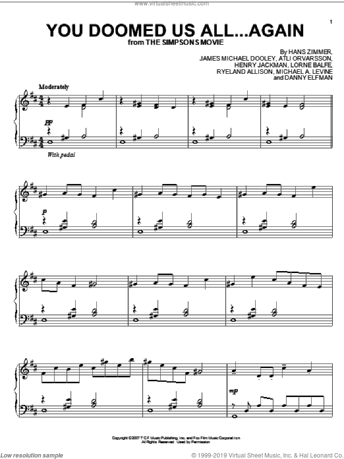 You Doomed Us All...Again sheet music for piano solo by Hans Zimmer, The Simpsons, The Simpsons Movie, Atli Orvarsson, Danny Elfman, Henry Jackman, James Michael Dooley, Lorne Balfe, Michael A. Levine and Ryeland Allison, intermediate skill level
