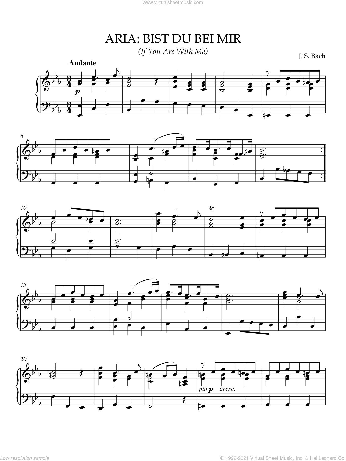 Bist Du Bei Mir (If You Are With Me) sheet music for piano solo by Joahnn Sebastian Bach and Johann Sebastian Bach, classical wedding score, intermediate skill level