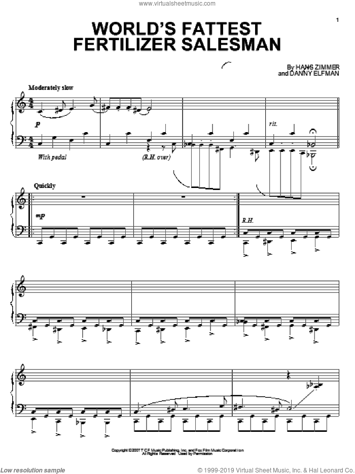 World's Fattest Fertilizer Salesman sheet music for piano solo by Hans Zimmer and Danny Elfman. Score Image Preview.