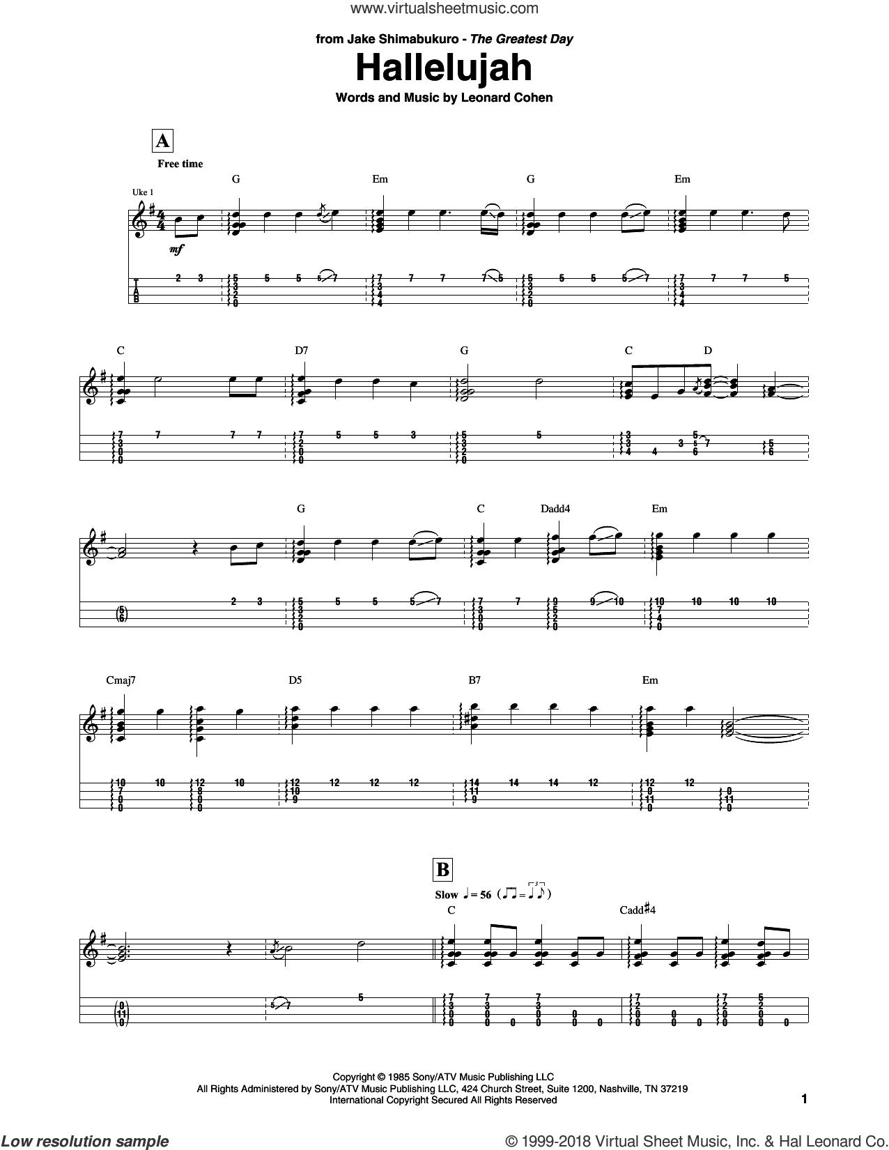 Hallelujah (arr. Jake Shimabukuro) sheet music for ukulele (tablature) by Leonard Cohen and Jake Shimabukuro, intermediate skill level