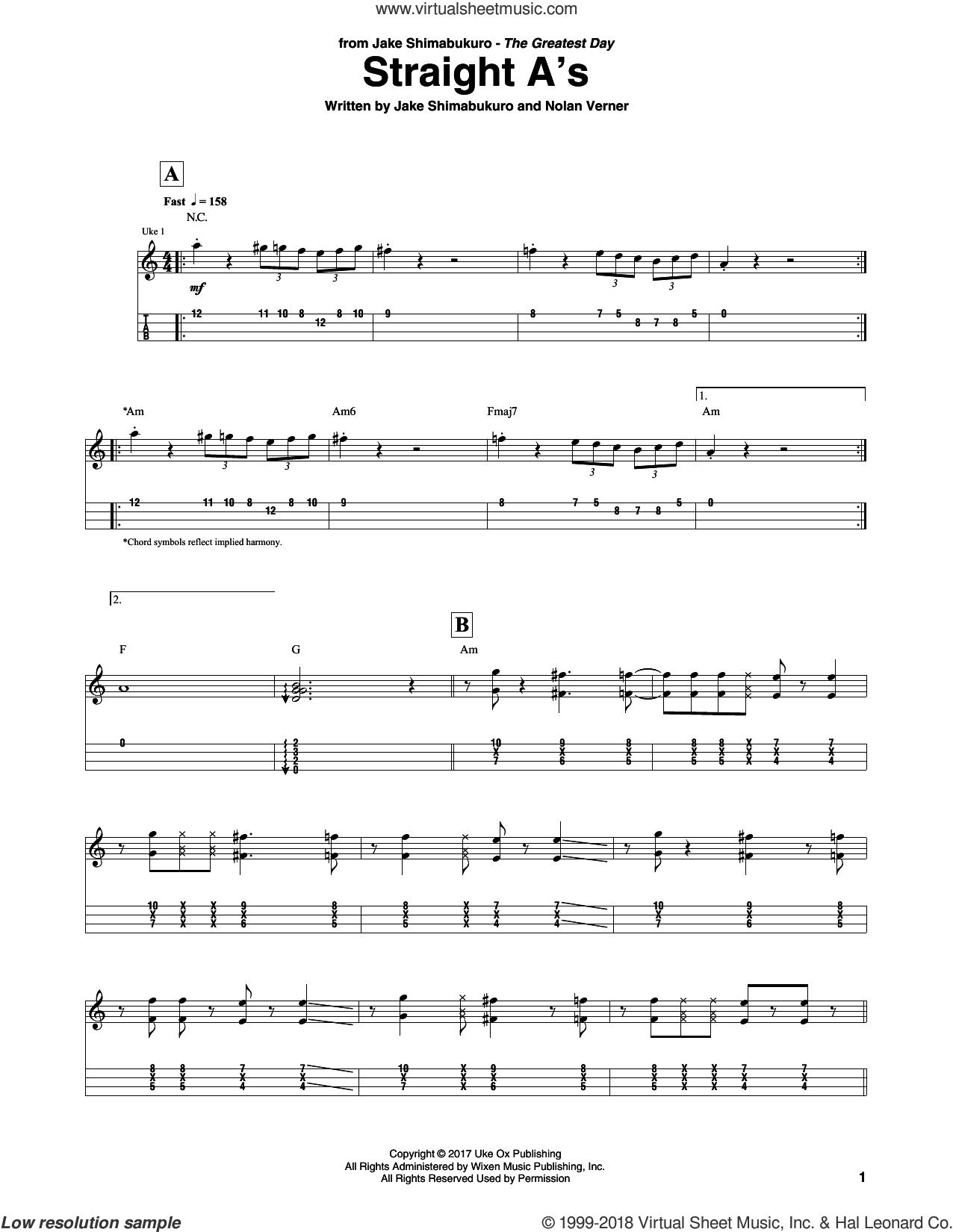 Straight A's sheet music for ukulele (tablature) by Jake Shimabukuro and Nolan Verner, intermediate skill level