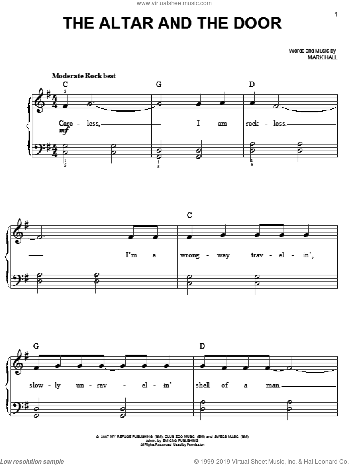 The Altar And The Door sheet music for piano solo by Casting Crowns and Mark Hall, easy