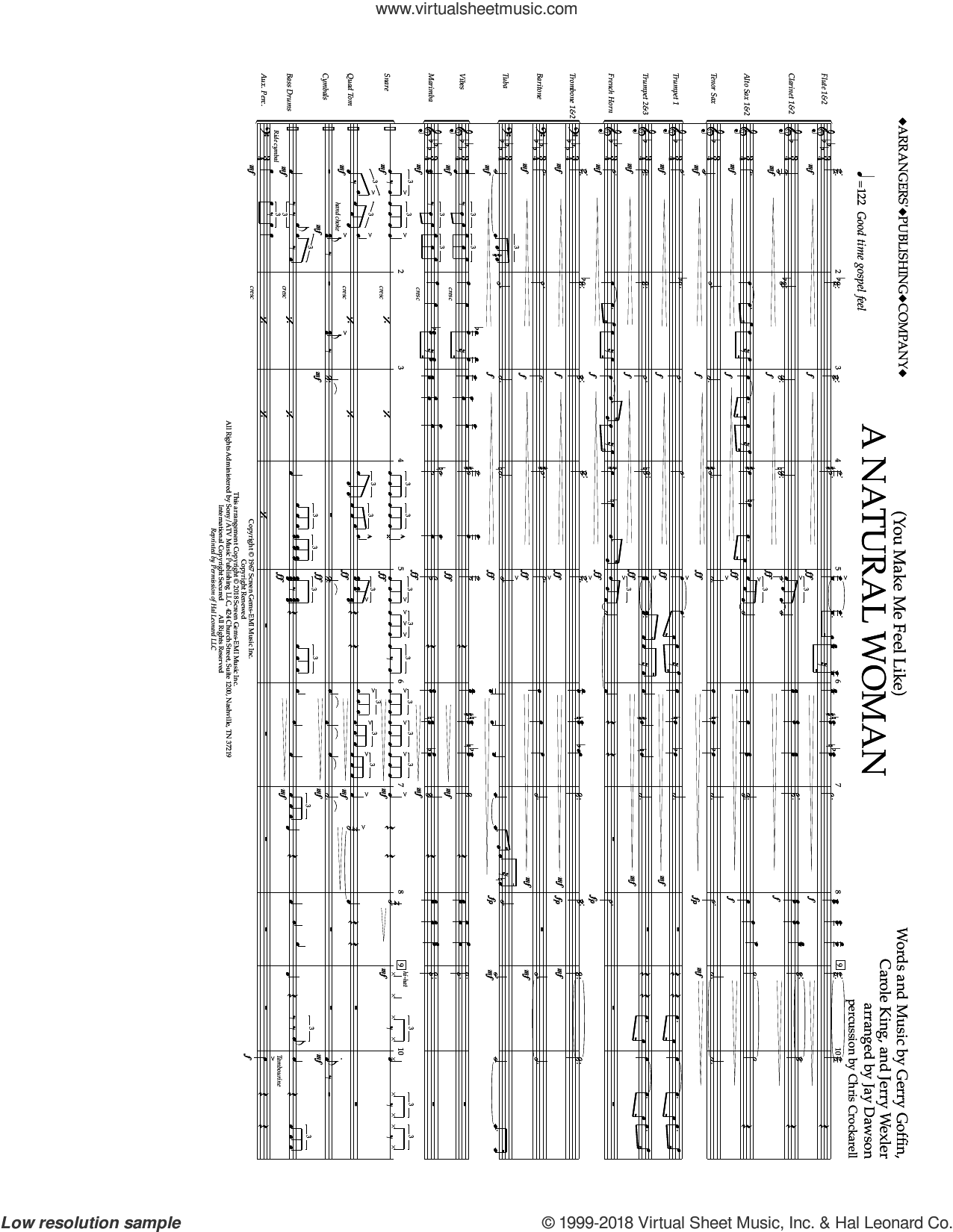 (You Make Me Feel Like) A Natural Woman (arr. Jay Dawson) (COMPLETE) sheet music for marching band by Carole King, Aretha Franklin, Celine Dion, Gerry Goffin, Jerry Wexler and Mary J. Blige, intermediate skill level