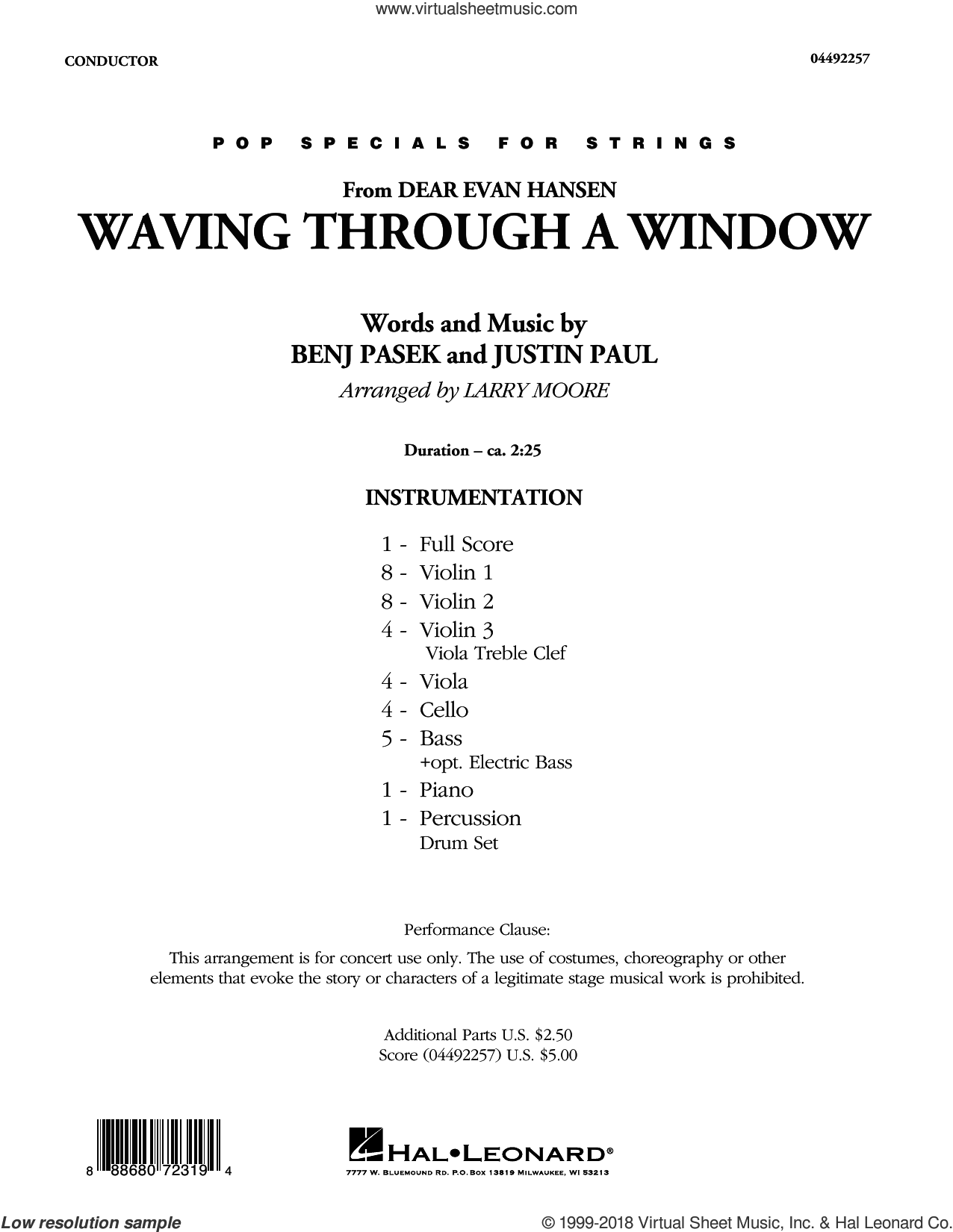 Waving Through a Window (from Dear Evan Hansen) (arr. Larry Moore) (COMPLETE) sheet music for orchestra by Benj Pasek, Justin Paul, Larry Moore and Pasek & Paul, intermediate skill level