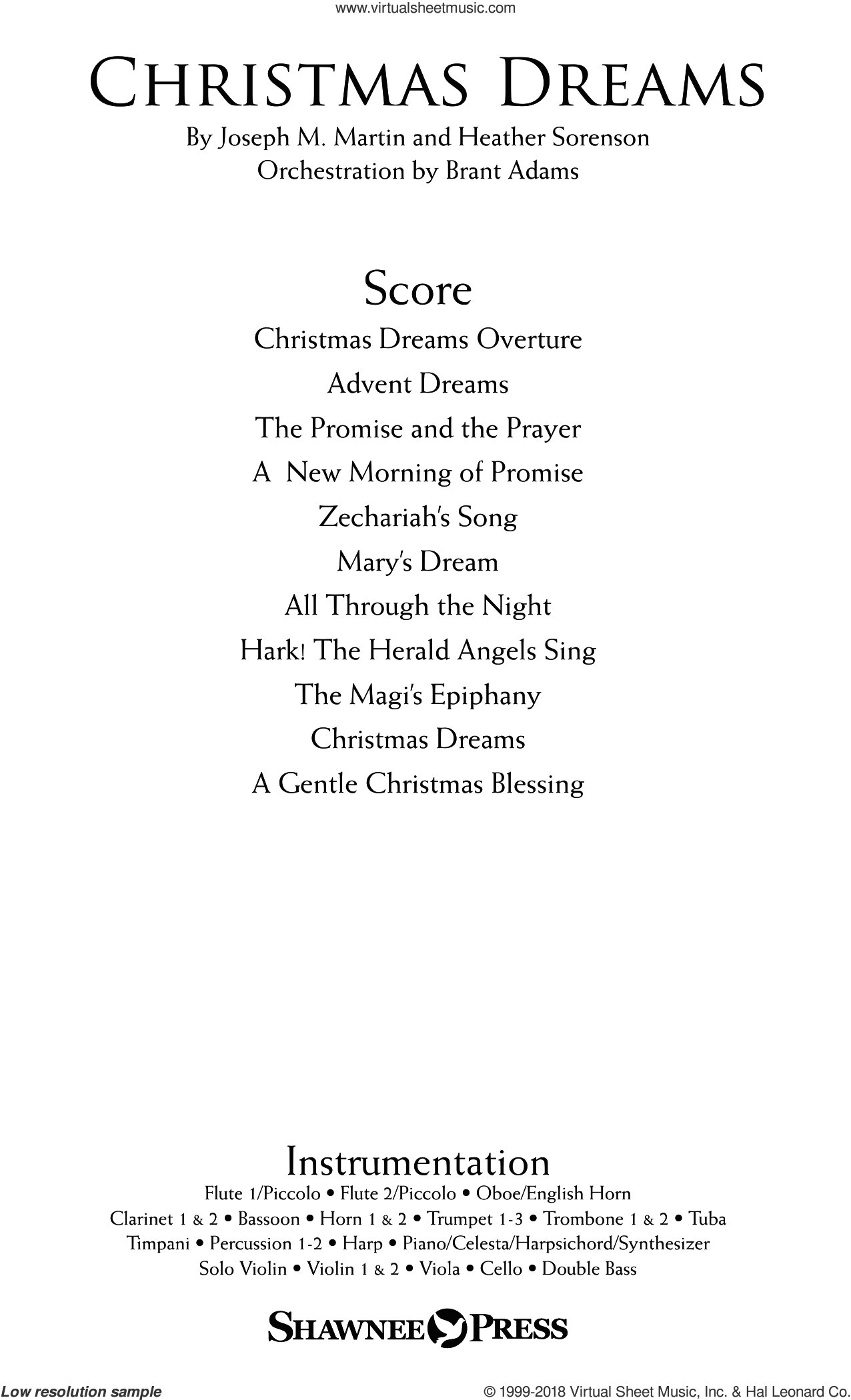 Christmas Dreams (A Cantata) (COMPLETE) sheet music for orchestra/band by Joseph M. Martin and Brant Adams, intermediate skill level