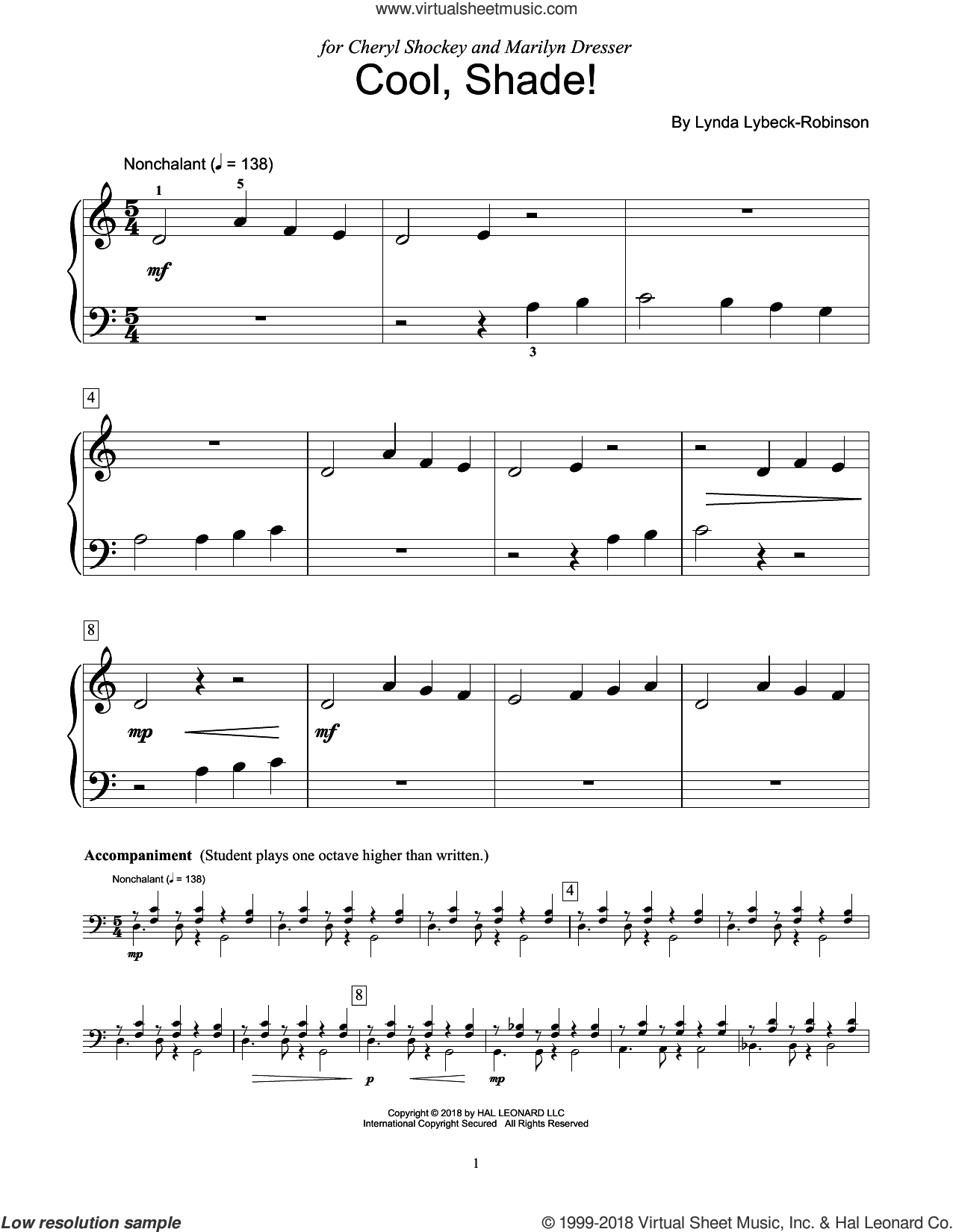Cool, Shade! sheet music for piano solo (elementary) by Lynda Lybeck-Robinson, beginner piano (elementary)