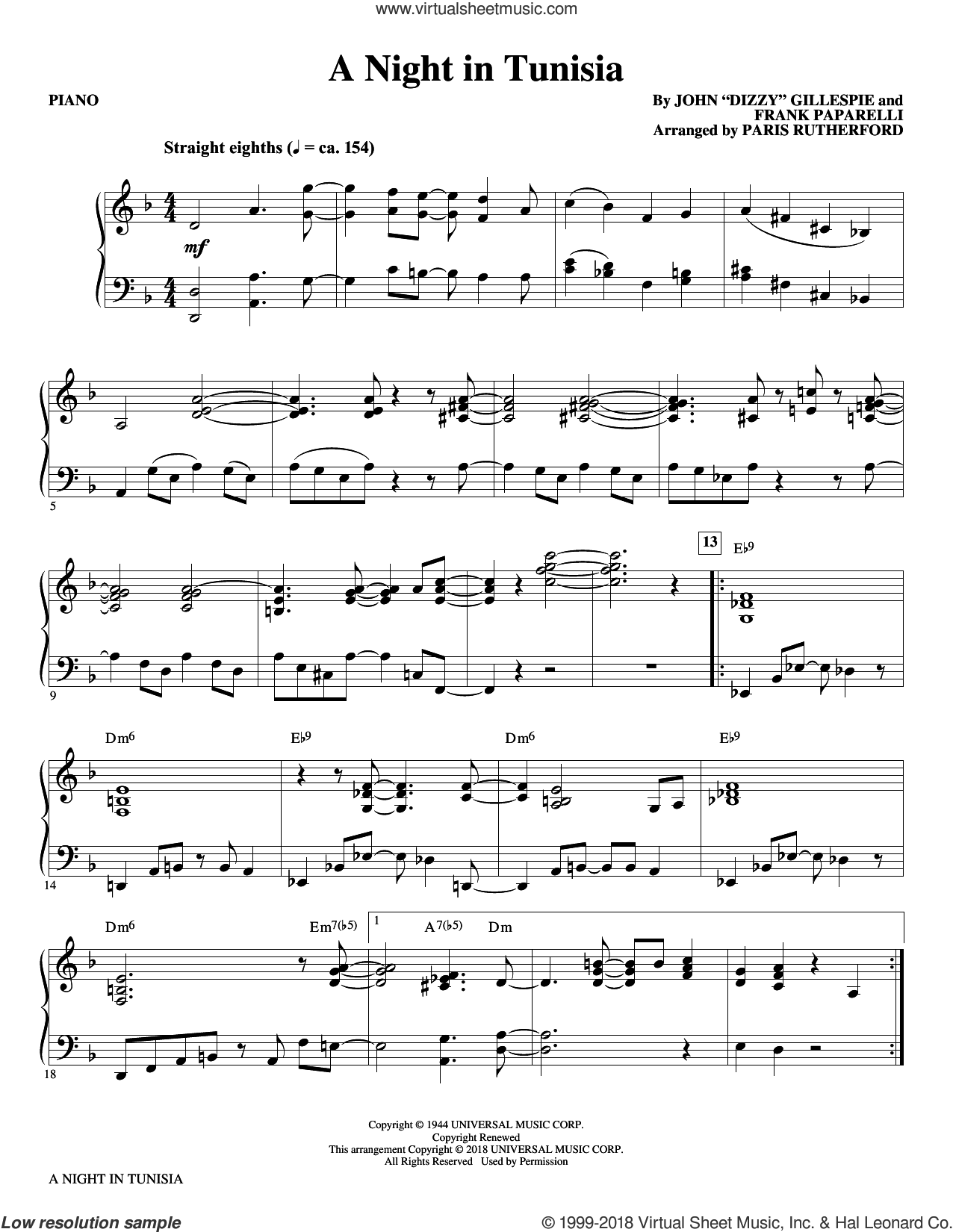 A Night in Tunisia (arr. Paris Rutherford) (complete set of parts) sheet music for orchestra/band by Paris Rutherford, Dizzy Gillespie and Frank Paparelli, intermediate skill level