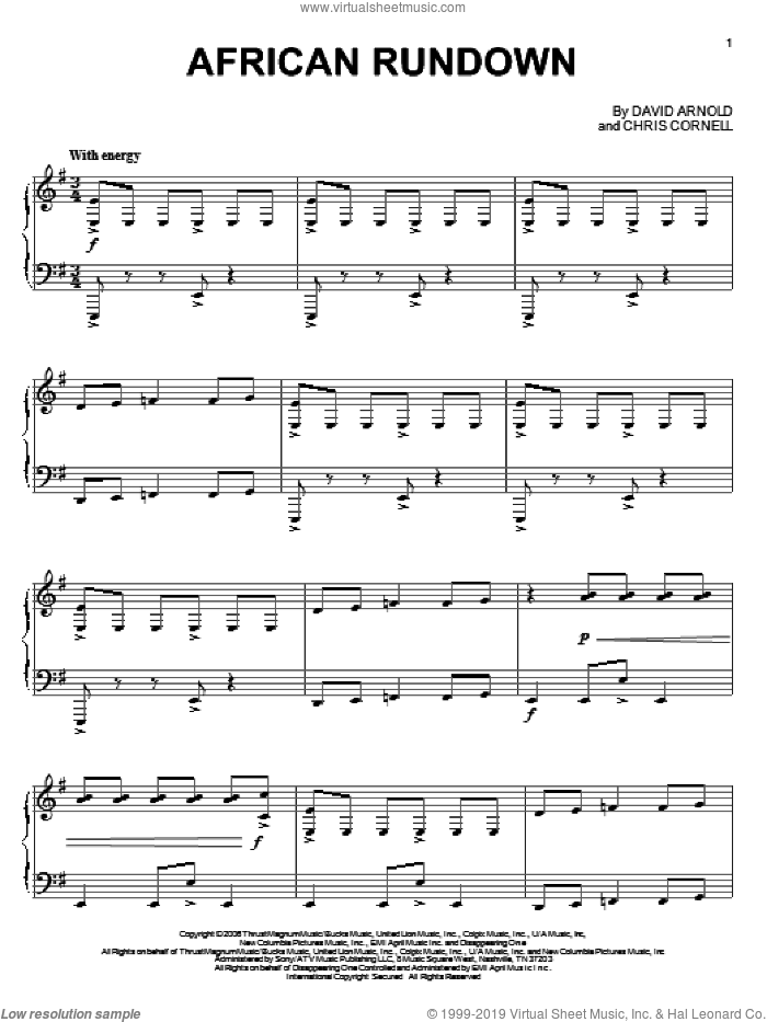 African Rundown sheet music for piano solo by David Arnold and Chris Cornell. Score Image Preview.
