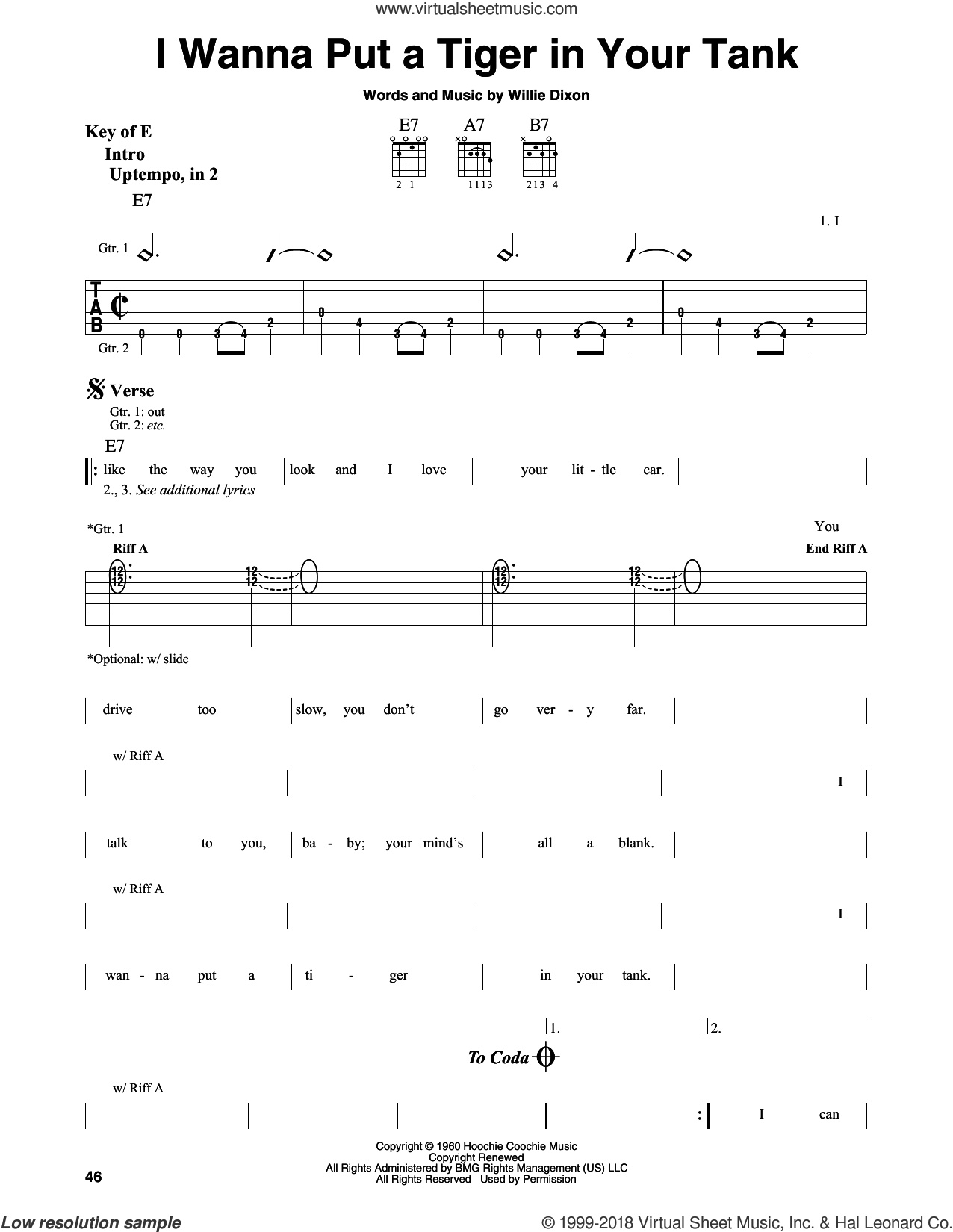 I Wanna Put A Tiger In Your Tank sheet music for guitar solo (lead sheet) by Willie Dixon, intermediate guitar (lead sheet)
