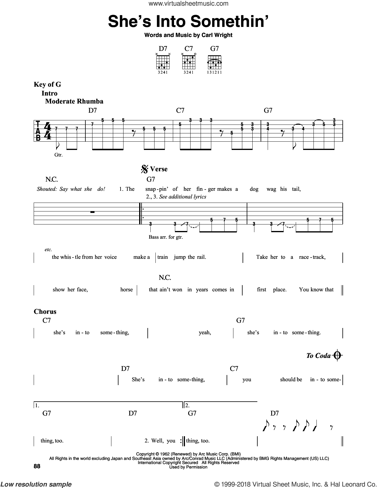 She's Into Somethin' sheet music for guitar solo (lead sheet) by Muddy Waters and Carl Wright, intermediate guitar (lead sheet)
