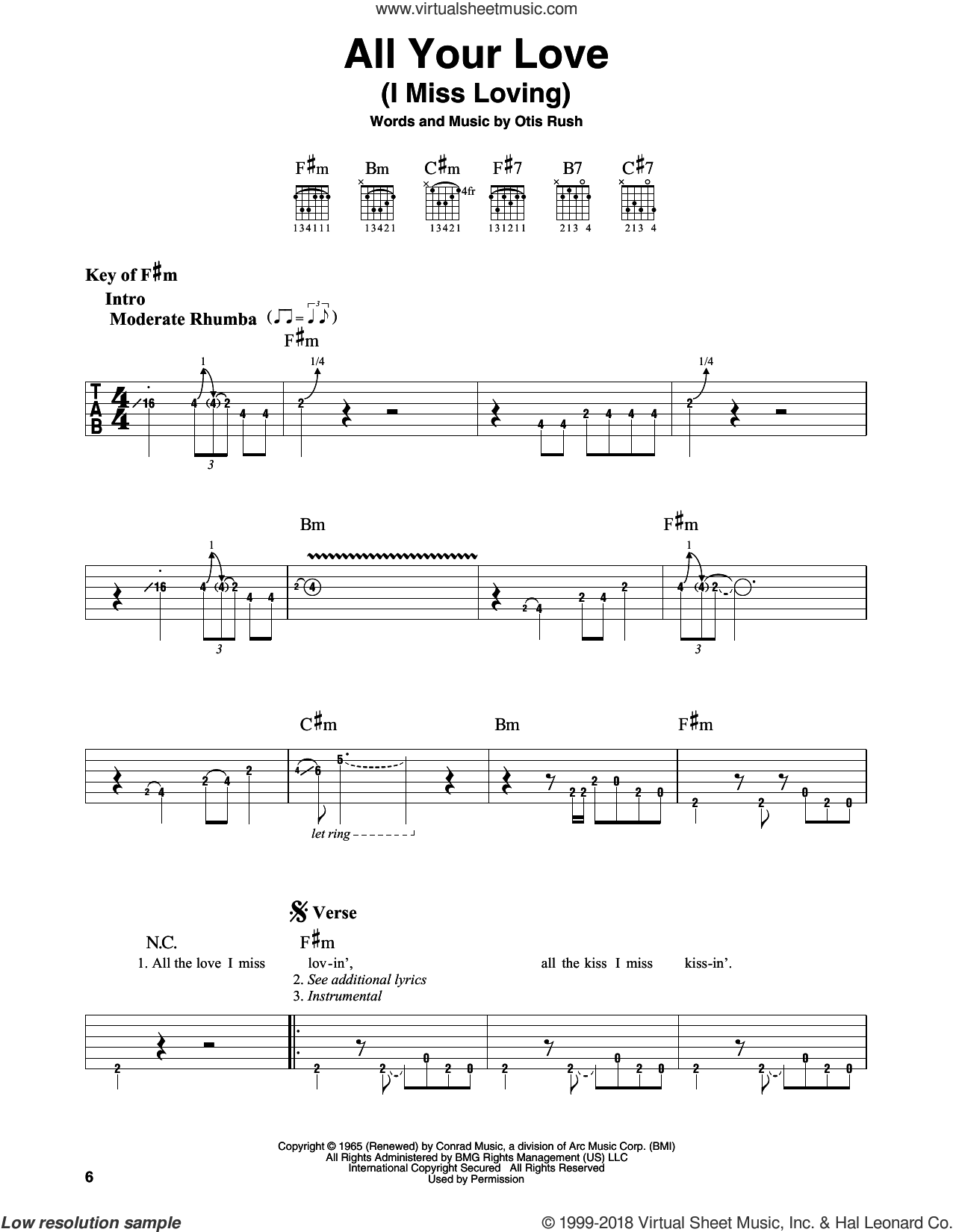 All Your Love (I Miss Loving) sheet music for guitar solo (lead sheet) by Otis Rush and Eric Clapton, intermediate guitar (lead sheet)