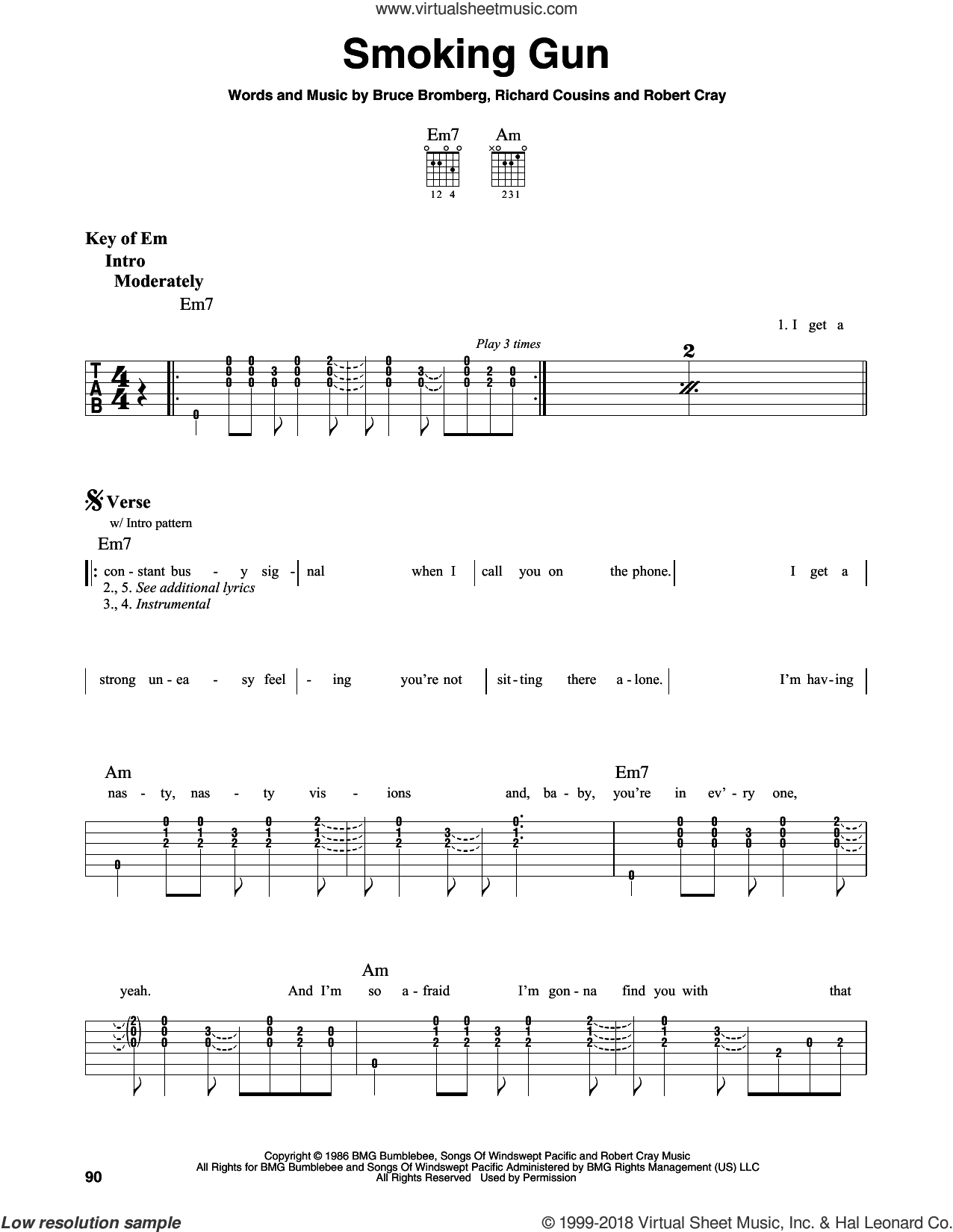 Smoking Gun sheet music for guitar solo (lead sheet) by Robert Cray, Bruce Bromberg and Richard Cousins, intermediate guitar (lead sheet)