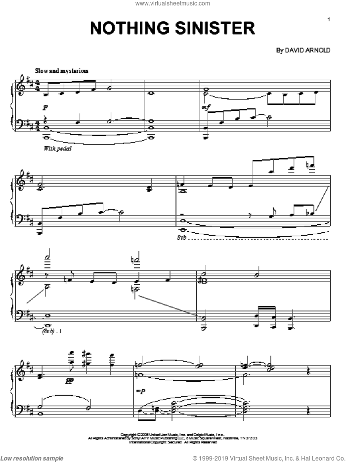 Nothing Sinister sheet music for piano solo by David Arnold. Score Image Preview.