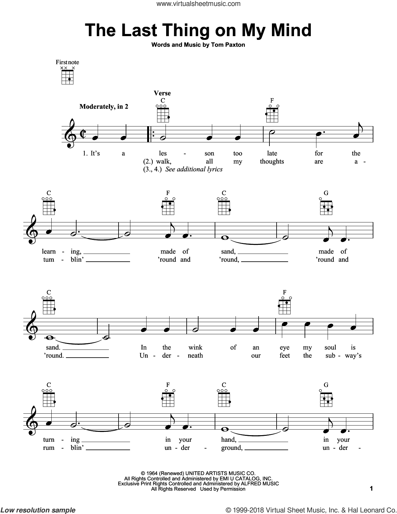 The Last Thing On My Mind sheet music for ukulele by Tom Paxton, intermediate skill level
