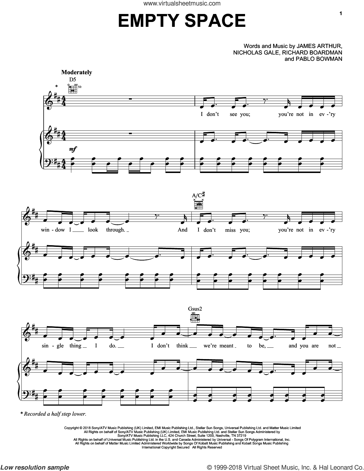 Empty Space sheet music for voice, piano or guitar by James Arthur, Nicholas Gale, Pablo Bowman and Richard Boardman, intermediate skill level