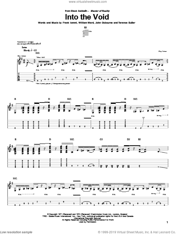 Into The Void sheet music for guitar (tablature) by William Ward, Black Sabbath, Ozzy Osbourne and Terence Butler. Score Image Preview.
