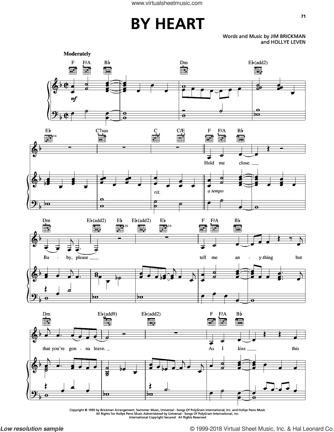 By Heart (feat. Anne Cochran) sheet music for voice, piano or guitar by Jim Brickman and Hollye Leven, intermediate skill level