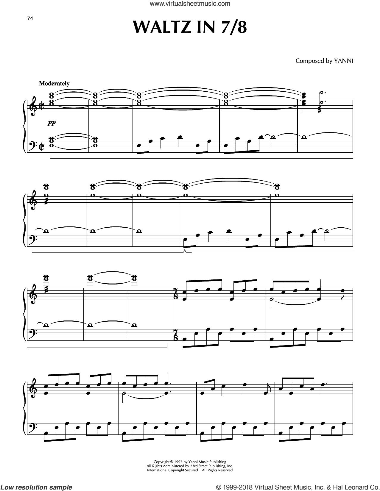 Waltz in 7/8 sheet music for piano solo by Yanni, intermediate skill level