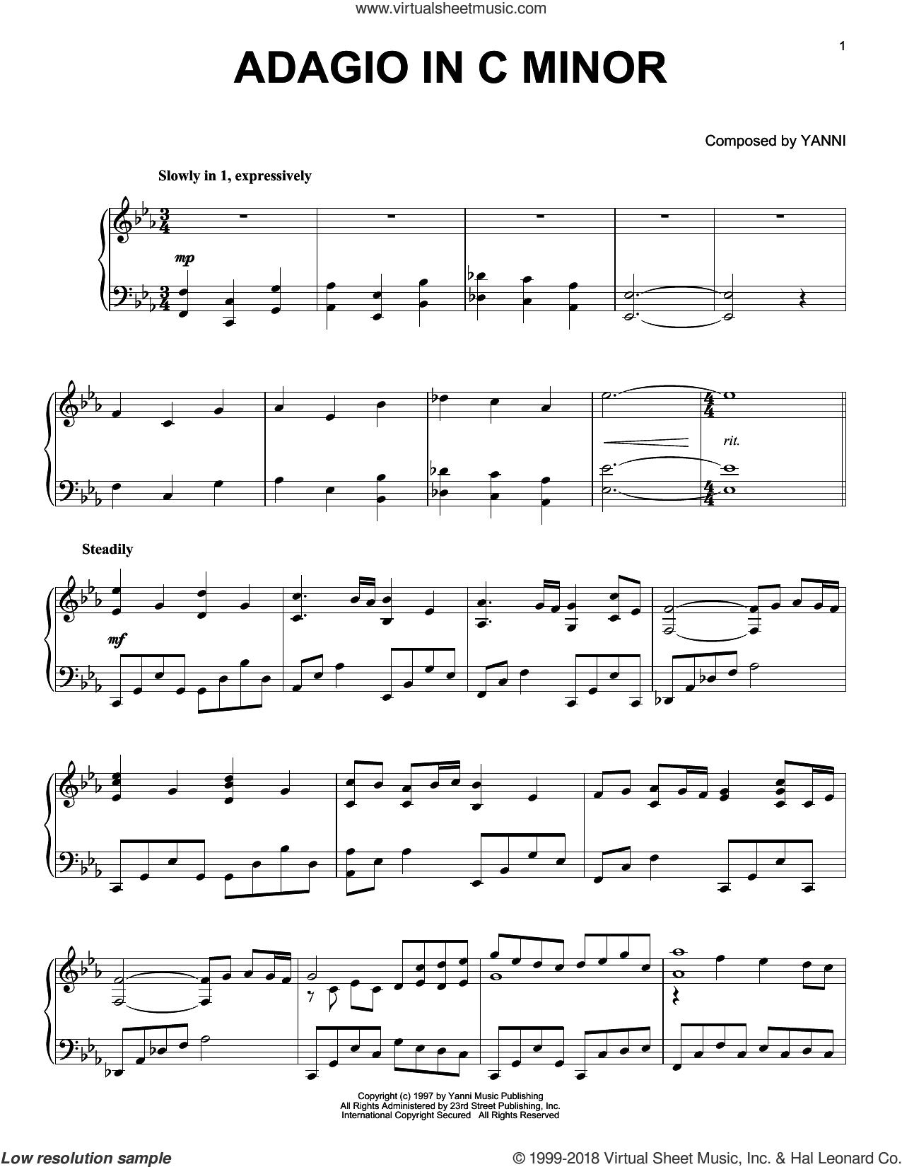 Adagio In C Minor sheet music for piano solo by Yanni, intermediate skill level