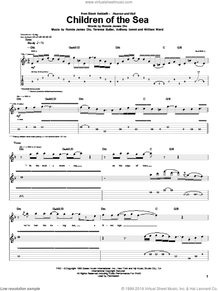 Children Of The Sea sheet music for guitar (tablature) by William Ward, Black Sabbath, Dio, Ronnie James Dio and Terence Butler. Score Image Preview.