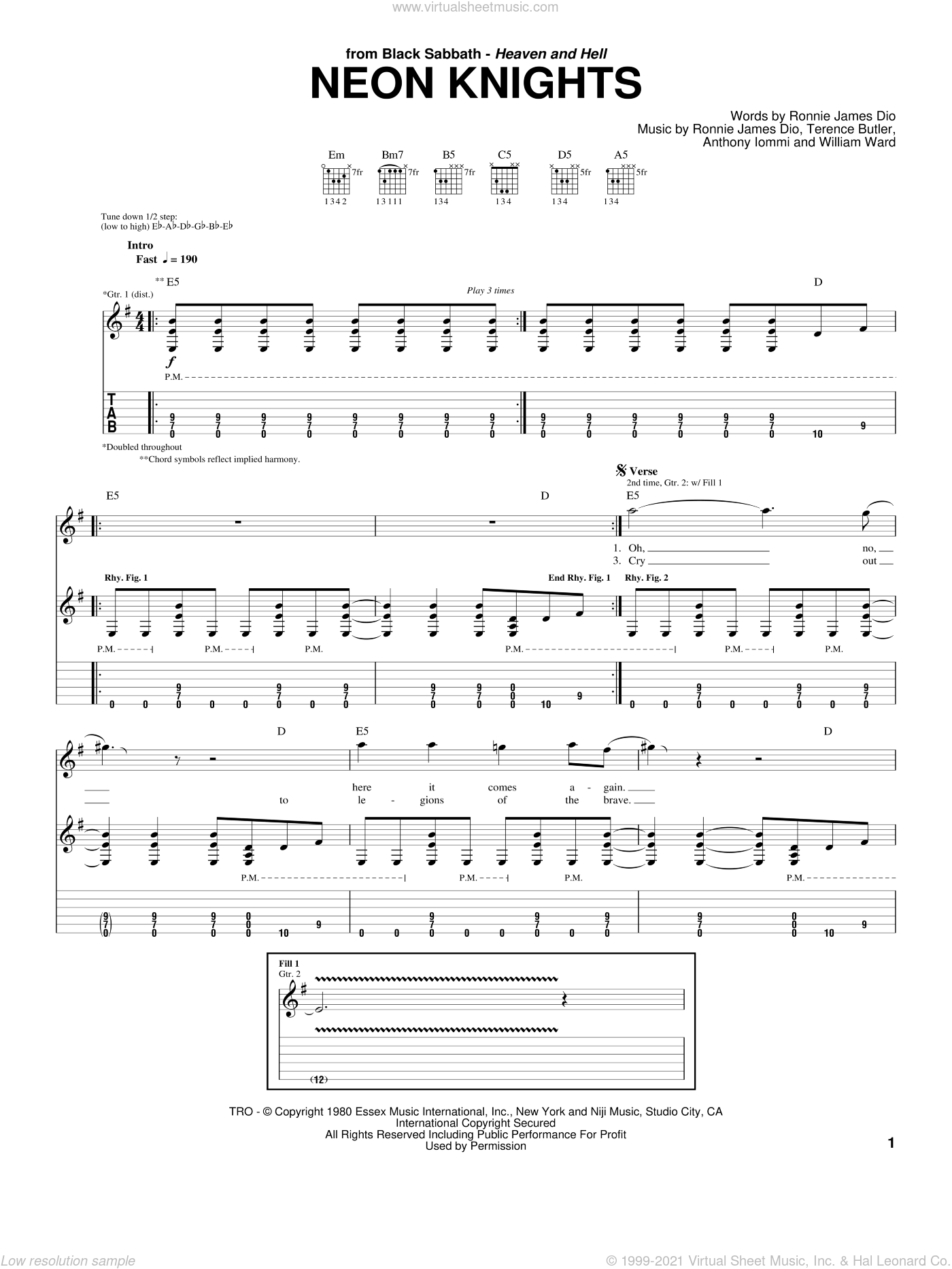 Neon Knights sheet music for guitar (tablature) by Black Sabbath, Dio, Anthony Iommi, Ronnie James Dio, Terence Butler and William Ward, intermediate skill level