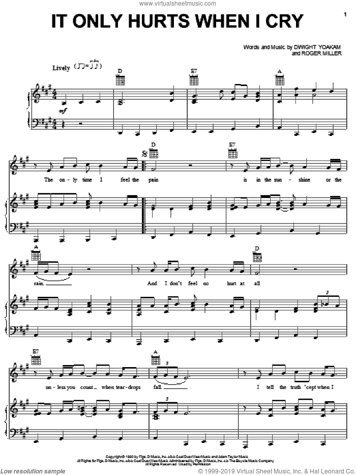 It Only Hurts When I Cry sheet music for voice, piano or guitar by Roger Miller