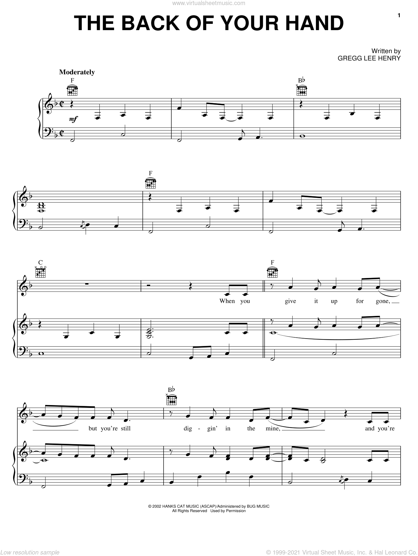 The Back Of Your Hand sheet music for voice, piano or guitar by Gregg Lee Henry and Dwight Yoakam. Score Image Preview.
