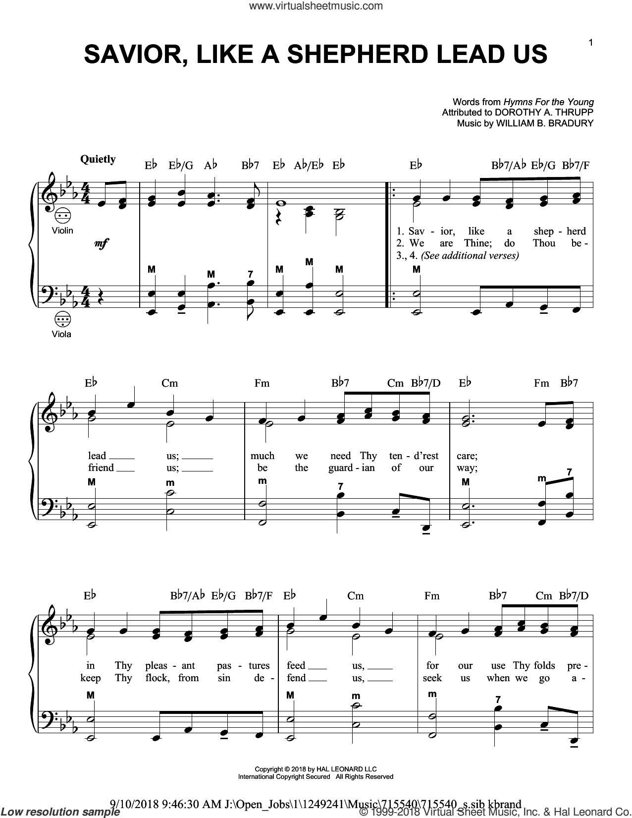 Savior, Like A Shepherd Lead Us sheet music for accordion by William B. Bradbury, Gary Meisner and Dorothy A. Thrupp, intermediate skill level
