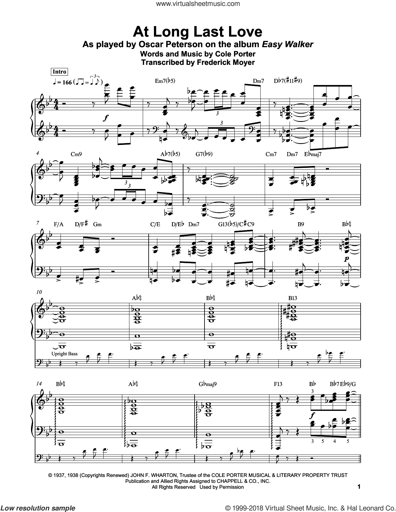 At Long Last Love sheet music for piano solo (transcription) by Cole Porter, Frederick Moyer and Frank Sinatra, intermediate piano (transcription)