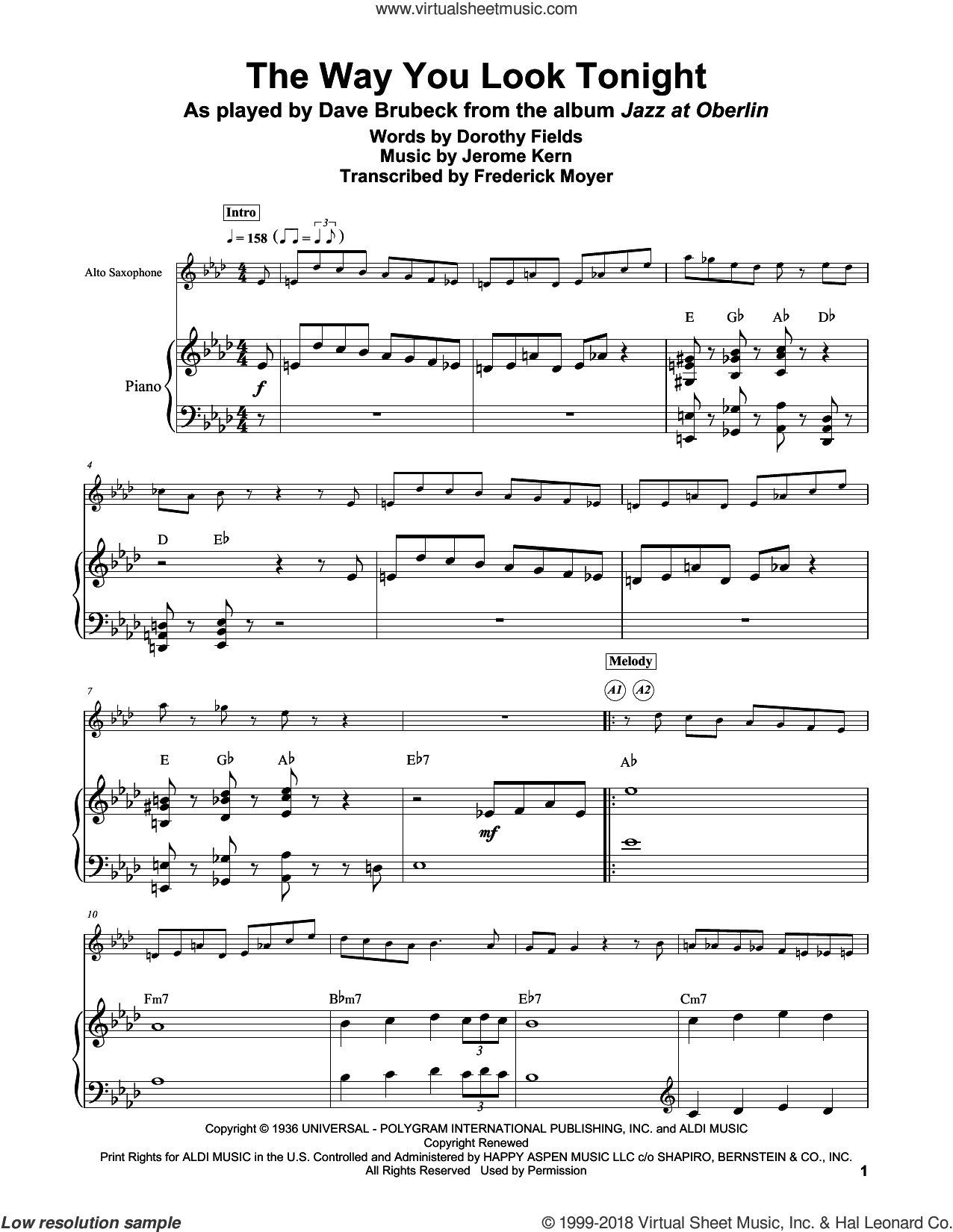 The Way You Look Tonight sheet music for piano solo (transcription) by Dorothy Fields, Frederick Moyer and Jerome Kern, intermediate piano (transcription)